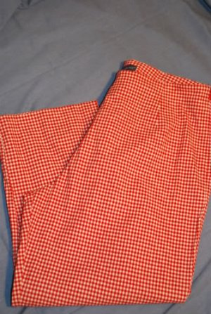 Mountain Lake Stretch Capris Red White Gingham Size 14