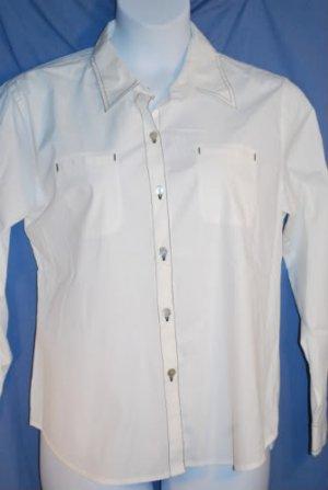 CHICOS White Button Front Top Womens Size 2  (XXL) EUC