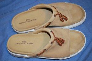 BASS Co Collection Khaki Suede Slides Shoes Size 9M EUC