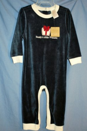"NEW OLD NAVY Baby Boys NAVY ""Daddy's Little Present"" Velour Outfit 12/18M NWT"