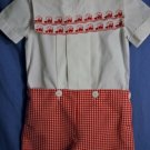 Boutique - Michael James Short Set Embroidered TRAINS White Red Boys Size 3T EUC