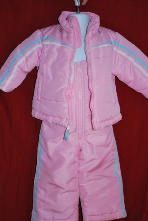 OshKosh Pink SKI Bib SNOW Pants and Coat Size 12M EUC