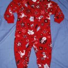 Children's Place Penguin Polar Bear Red Print Winter Pajamas PJs Size 18M EUC
