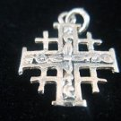 Sterling Silver Solid 925 Pendant Jerusalem Cross Decorated with Flowers
