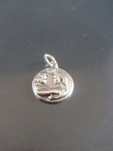 Solid 925 Sterling Silver Mother and Child Pendant Necklace