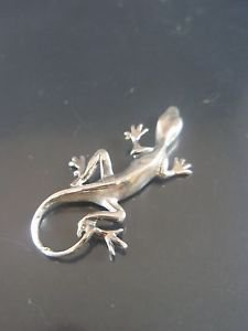 Solid Sterling Silver 925 Lizard Pendant