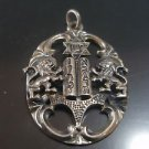Vintage Pendant OVAL TEN Commanadments WITH STAR OF DAVID AND Two LIONS Sterling
