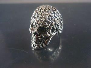 WOMAN Sterling Silver Ring 925 Sugar Skull Flowers Punk Ring Unique Paris Hilton