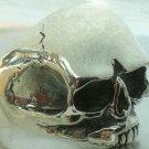 Cracks Skull Ring Custom Biker Solid Sterling Silver 925