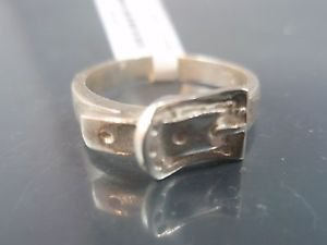 925 Sterling Silver Belt Buckle Pants Band Ring