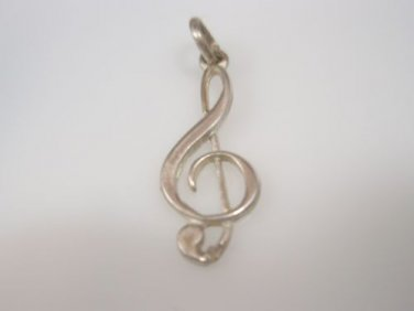 music symbol charm Sol key, G-clef music note pendant Solid Sterling Silver 925
