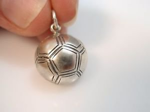 Solid Sterling Silver 925 Football Soccer Pendant