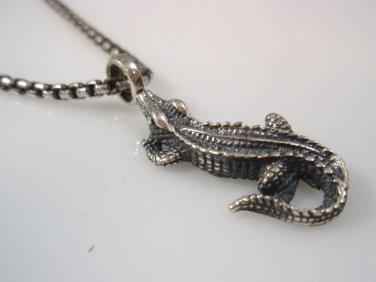 Crocodile alligator 3D pendent solid sterling silver 925
