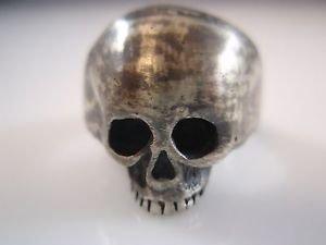Ezi Zino Crack Skull ring sterling silver Blackened oxide Used style Jewelry 925