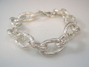 chunky silver textured,Silver Chain women Bracelet sterling silver by Ezi Zino