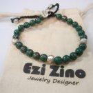 Ezi zino sterling silver 925 Malachite eilat stone natural Beads 6mm Bracelet