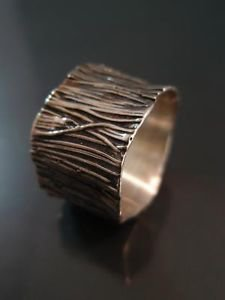 THE DELINI ART Sterling Silver Ring 925 Tree Trunk Texture Design Modern Stylish