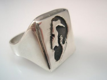 Sigmund Freud Portrait Shadow Woman ring sterling Silver 925