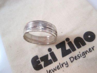 Original Ezi zino unisex wedding Band ring Handmade solid Sterling Silver 925