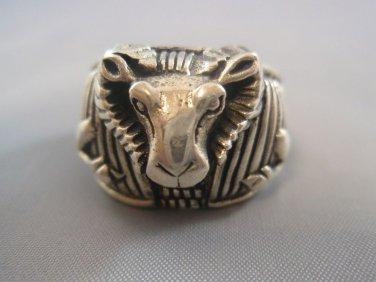 Ezi Zino Solid Sterling Silver 925 Goat Devil Jewelry Art Mens Ring BIKER OUTLAW