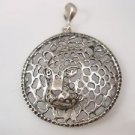 Tiger Puma Jaguar Panther round lace Solid Sterling Silver 925 Pandent