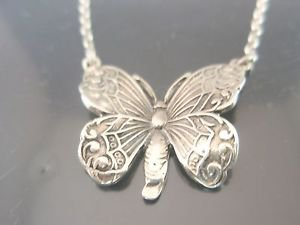 Sterling Silver Butterfly Necklace NEW Solid 925 Charm Pendant and Chain