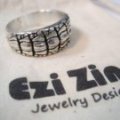 Original Ezi zino Crocodile alligator Texture solid sterling silver 925 ring