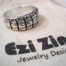 Original Ezi zino Crocodile alligator Texture solid sterling silver 925 ring