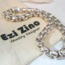Ezi Zino Designer Jewelry  Sterling Silver 925 box chain bracelet Black Diamonds