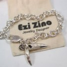 Ezi zino sterling silver 925 Mans Bracelet TEETH ALLIGATOR EMBOSSED Crocodile