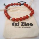 Ezi zino sterling silver 925 star of david Natural coral Beads 6mm Bracelet