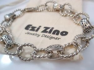 Ezi zino Square Rectangle Oxide sterling silver 925 unisex Bracelet