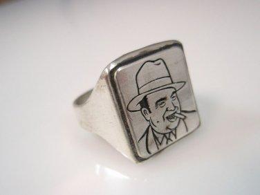 Al Capone Alphonse Gabriel Capone Mobster Italian Mafia Ring silver 925 Ezi Zino