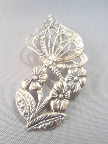 Sterling Silver 925 Pendant Decorated with Flowers and Butterfly