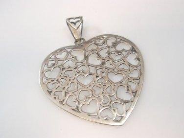 lovers heart Multi Heart Lace Pendant Sterling Silver 925