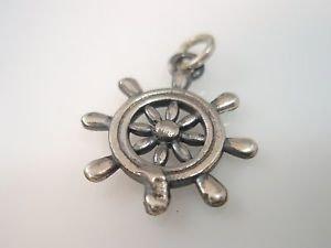 Steering Wheel nautical pendant Solid Sterling Silver 925