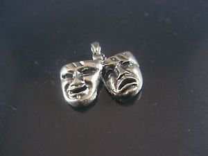 Solid Sterling Silver 925 Two Masks Happy and Sad Pendant
