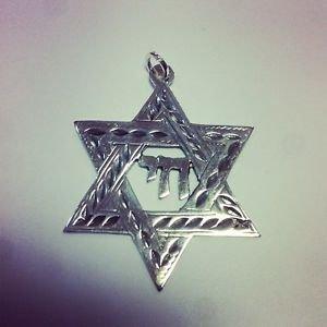 Star of David HAI Judaica Sterling Silver 925 Pendant