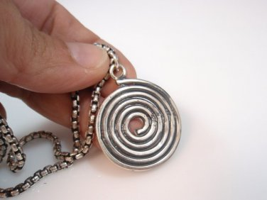 spiral round pendant Solid Sterling Silver 925