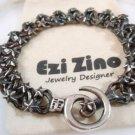 Original Ezi zino star Link Oxidized Heavy Bracelet  with Black Diamonds