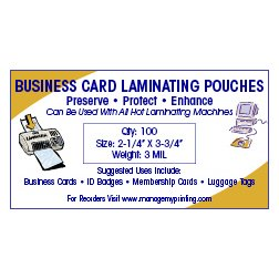 Business Card Laminating Pouches 3 MIL (100 Pack)