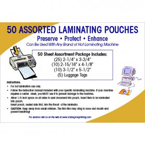Assorted Small Laminating Pouches (50 Pack)