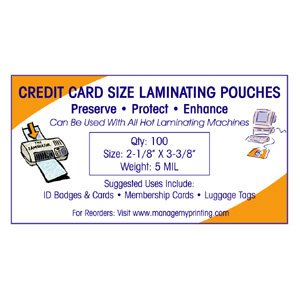 Credit Card Laminating Pouches 5 MIL (100 Pack)