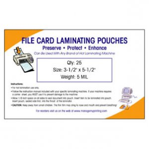 Index and File Card Laminating Pouches 5 MIL (25 Pack)