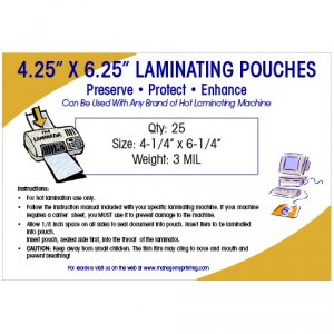 Photo or Video Card Large Laminating Pouches 3 MIL (25 Pack)