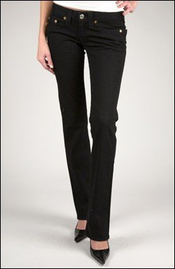 TRUE RELIGION JOHNNY STRETCH JEAN IN RINSE BLACK