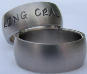 Custom Hand Stamped Stainless Steel Rings - Curved with Matte Finish