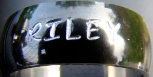Custom Hand Stamped Stainless Steel Rings - Curved w/ Black Polished Finish