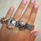 Four Finger Skull Faux Diamond Armor Ring
