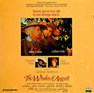 THE WHALES OF AUGUST Laser Disc (1987)...SEALED!! Bette Davis, Lillian Gish, Vincent Price!!